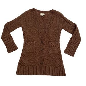 SLEEPING ON SNOW Chunky Cable Knit Long Cardigan